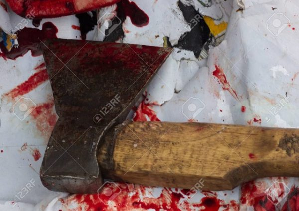 A close-up of bloody axe and small pool of blood